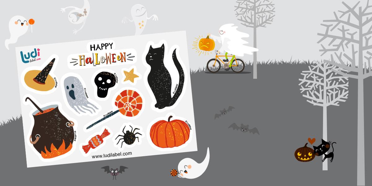 10 autocolantes Happy Halloween de oferta