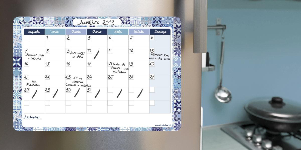 Calendário mensal magnético e apagável