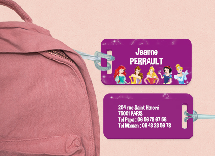Etiqueta Princesas Disney para marcar as bagagens no comboio ou no avião