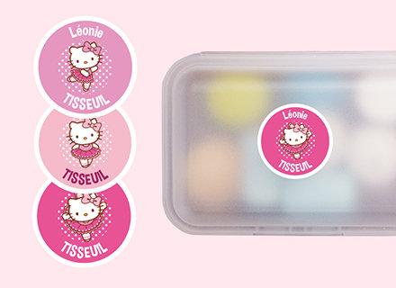 Les étiquettes rondes Hello Kitty !