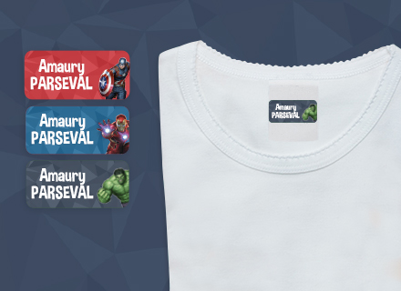As etiquetas autocolantes para roupa vingadores