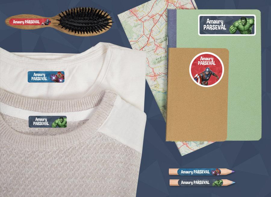 Etiquetas Vingadores para marcar os pertences