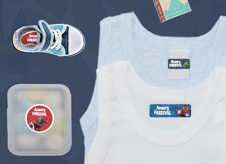 Etiquetas Vingadores para marcar a roupa para o Infantário