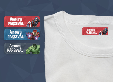 As etiquetas termoaderentes Avengers