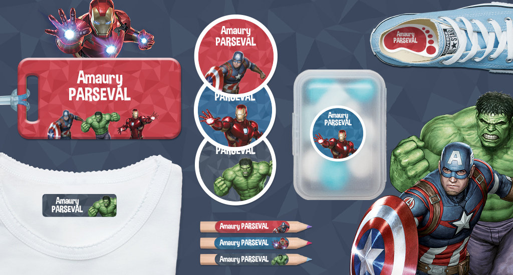 As Etiquetas personalizáveis Vingadores - Marvel