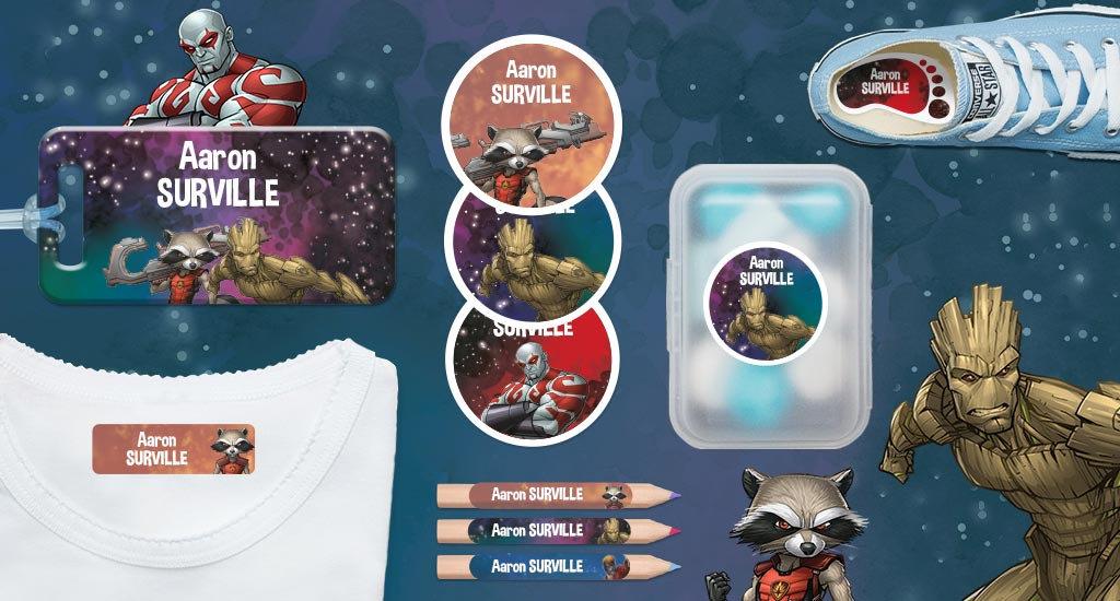 As Etiquetas Personalizáveis Marvel : Gardiões da Galáxia