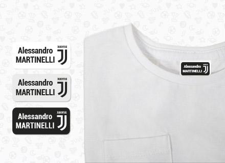 As etiquetas personalizáveis com as cores da Juventus
