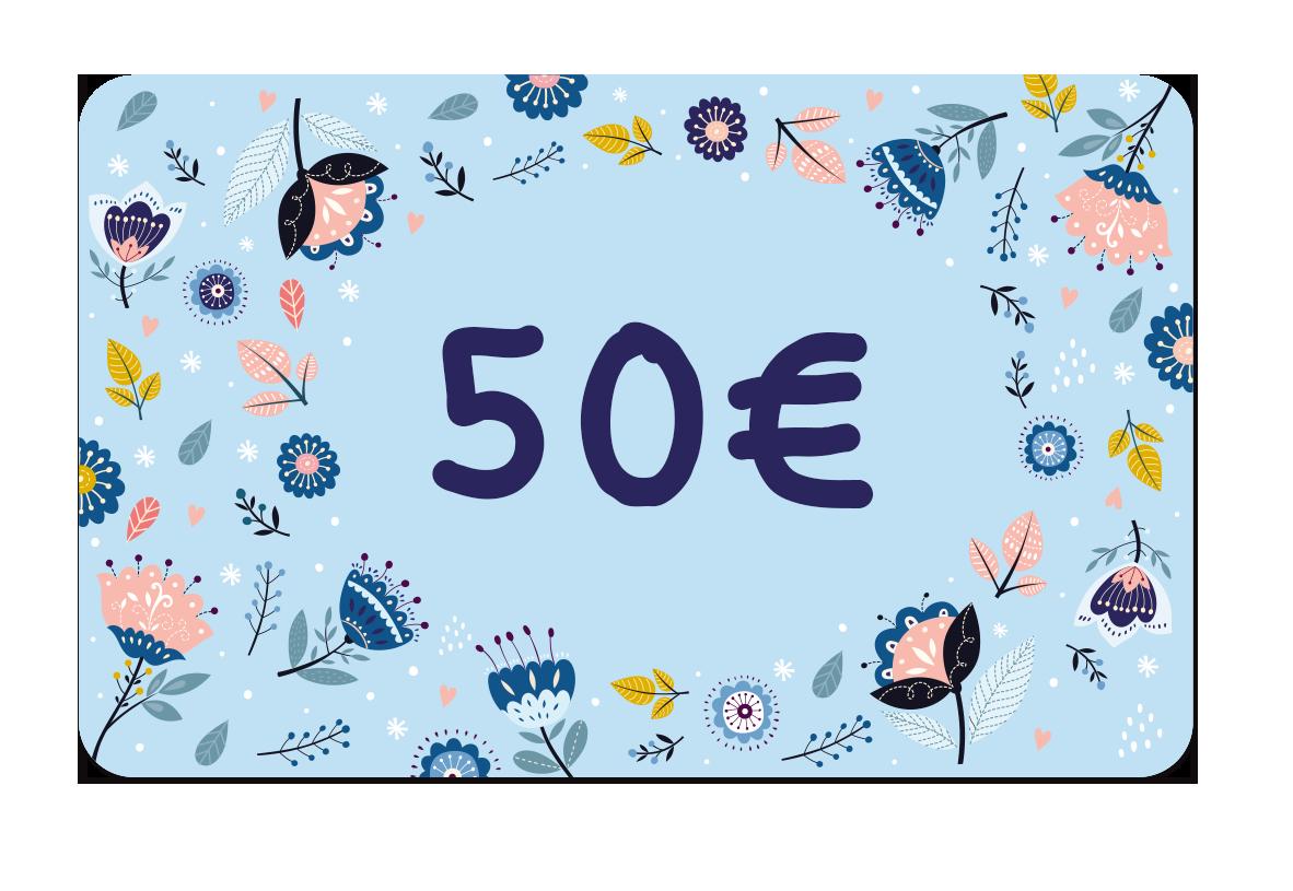 La carte cadeau à 50 euros de Ludilabel pour offrir des produits personnalisées avec le nom de l'enfant au parent