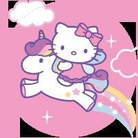 Etiqueta Hello Kitty Unicórnio