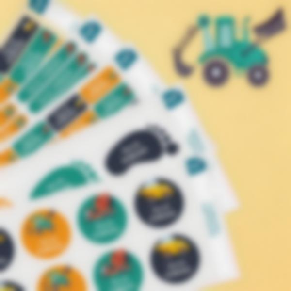 8 pack etiquetas jardim de infancia construcao
