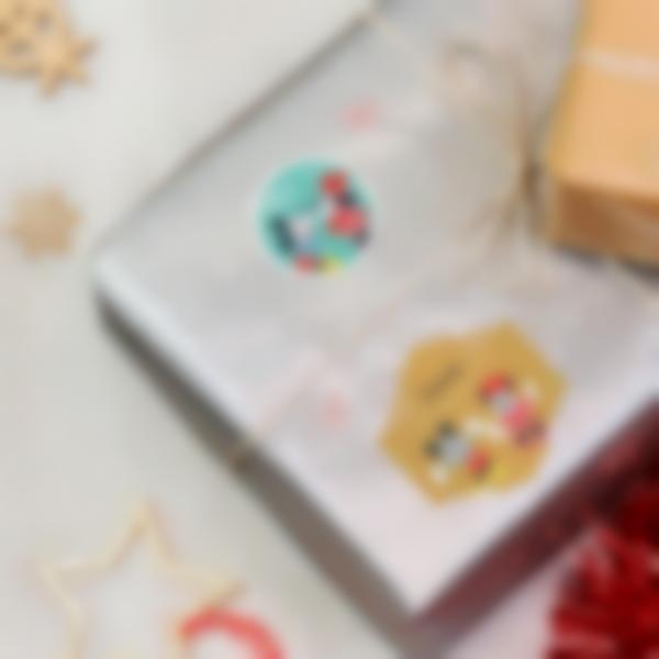 etiquettes noel mickey disney paquets cadeau