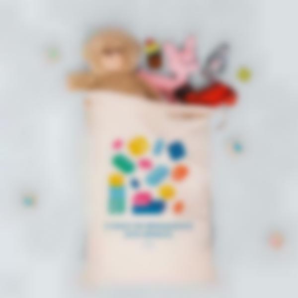 saco textil ilustrado e personalizado para brinquedos 2