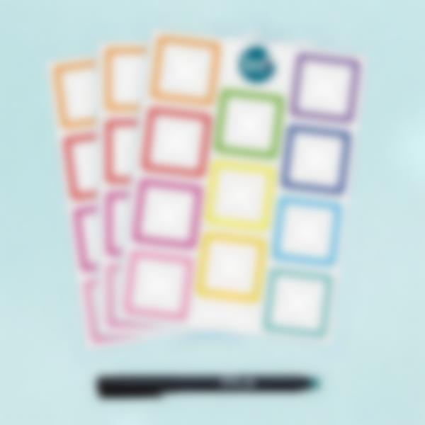 Etiquetas Apagáveis Quadradas x 33 - Arco-íris