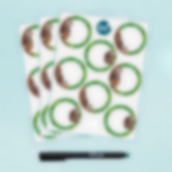 Etiquetas Brancas Apagáveis Redondas x 24 - Preguiça