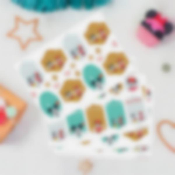 Etiquetas de presentes de Natal - Mickey e Minnie Mouse