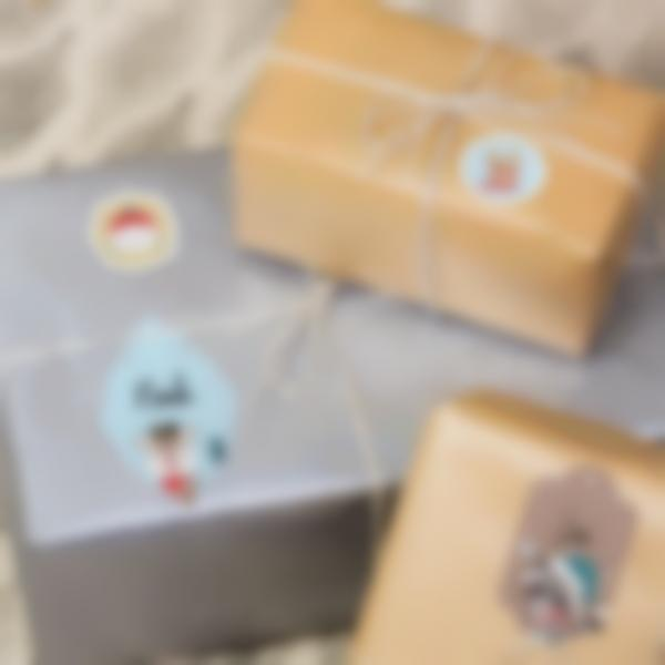 Etiquetas para identificar os presentes de Natal - Animais Dourados e Azuis