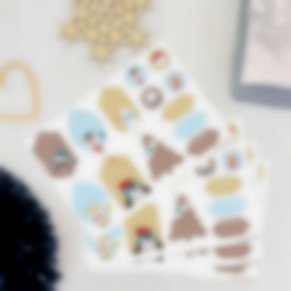 Etiquetas de presentes de Natal - Animais Dourados e Azuis