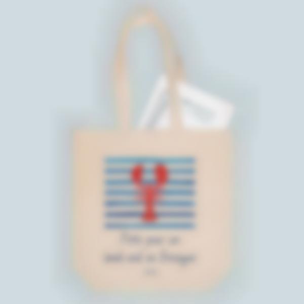 Saco de algodão biológico personalizado - Tote bag - Lagosta
