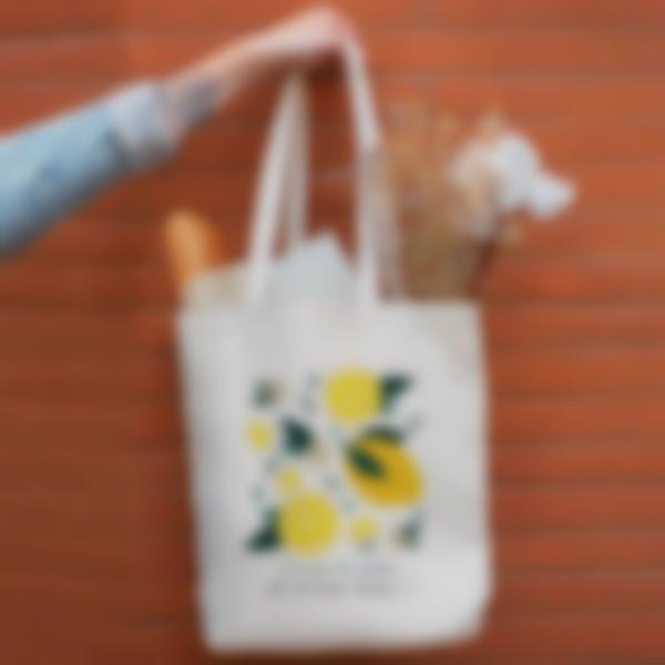 Saco de algodão biológico personalizado - Tote bag - Limões