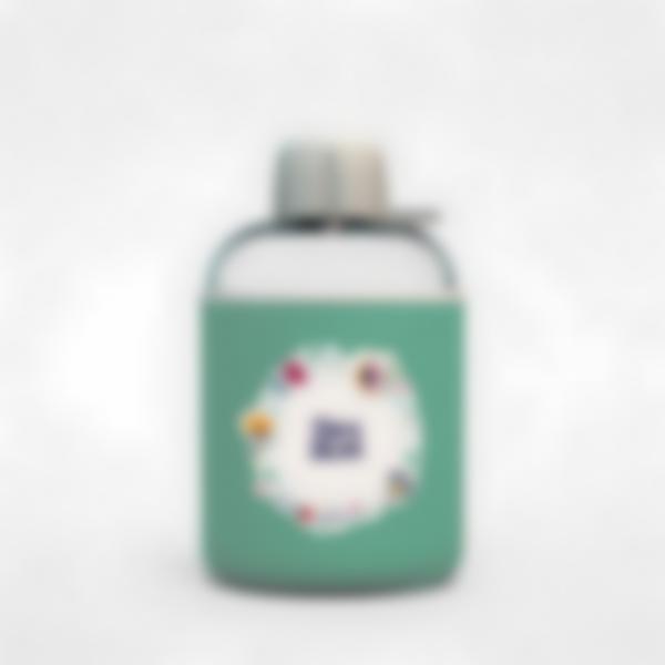 Garrafa infantil isotérmica plana verde – Floral