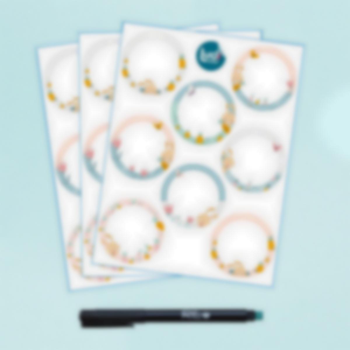 Etiquetas Brancas Apagáveis Redondas x 24 - Coelho
