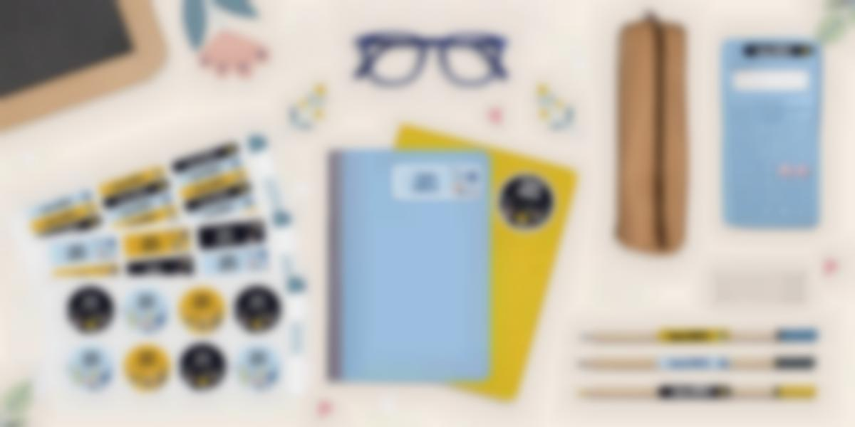 Pack de autocolantes personalizados para material escolar